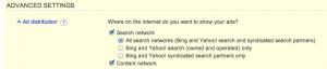 Network Control in Bing Ads UI