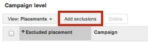 Add Exclusions under campaigns