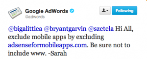 Adwords Response on blocking mobile apps